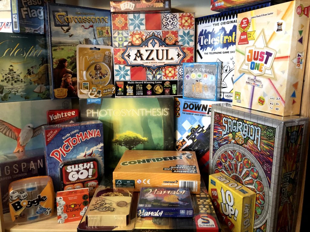 shelf of board games